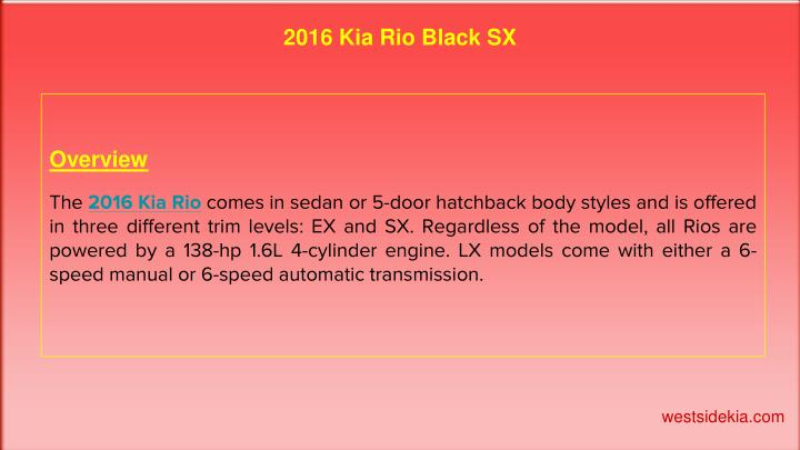 2016 Kia Rio Black SX