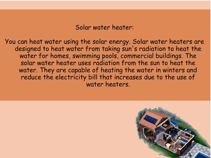 Solar water heater: