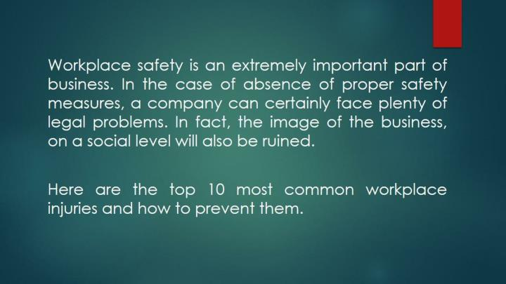Top 7 most common workplace injuries
