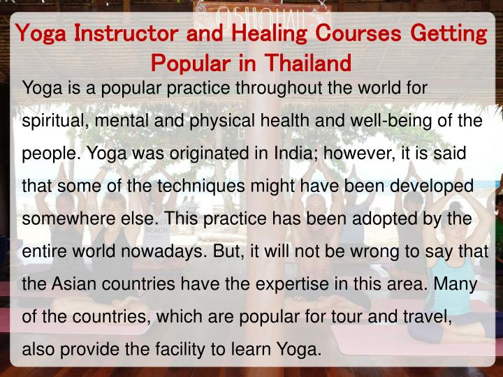 Yoga Instructor and Healing Courses Getting Popular in Thailand