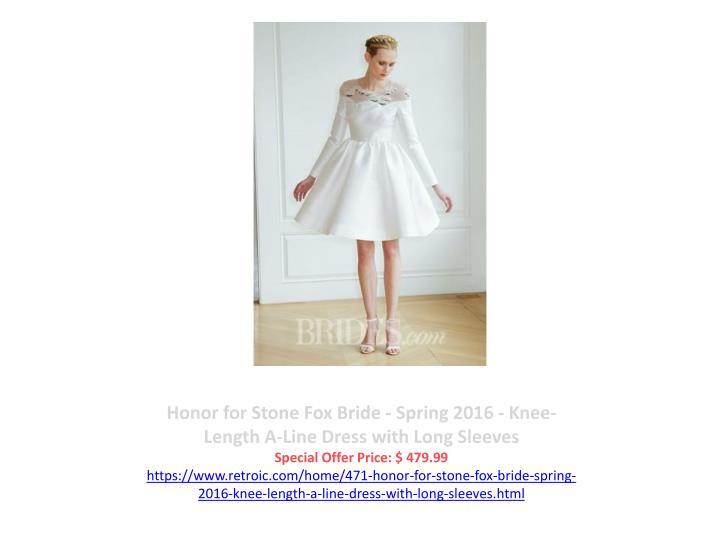 Honor for Stone Fox Bride - Spring 2016 - Knee-Length A-Line Dress with Long Sleeves
