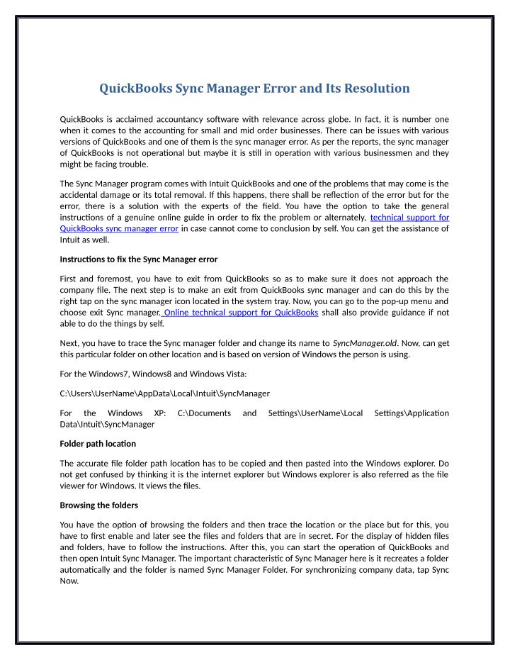 QuickBooks Sync Manager Error and Its Resolution