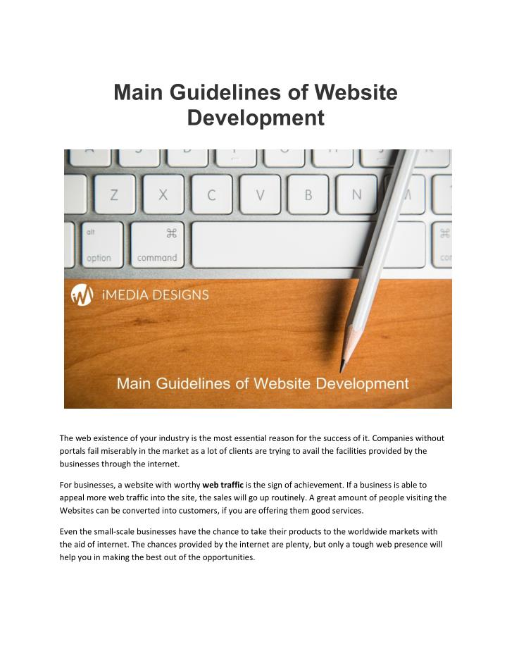 Main Guidelines of Website