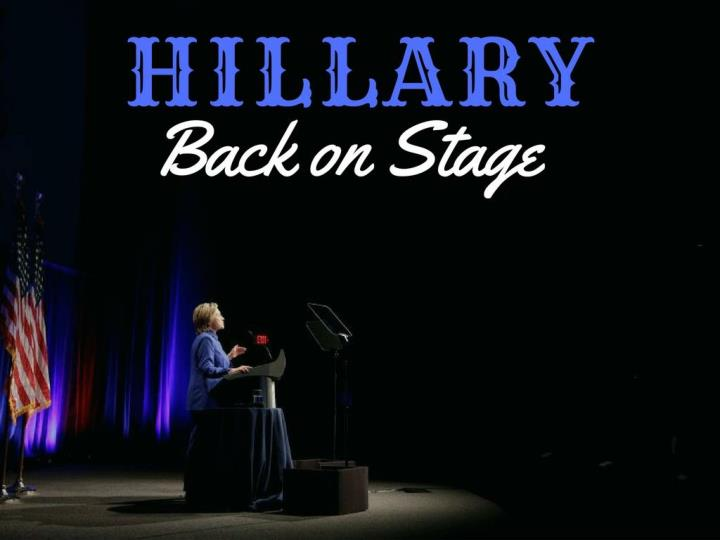 hillary back on stage n.