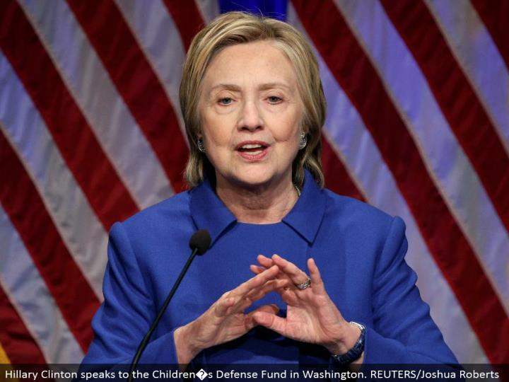 Hillary Clinton addresses the Children�s Defense Fund in Washington. REUTERS/Joshua Roberts