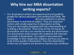 why hire our mba dissertation writing experts