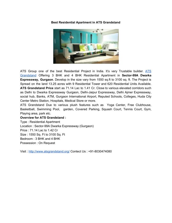 Best Residential Apartment in ATS Grandstand