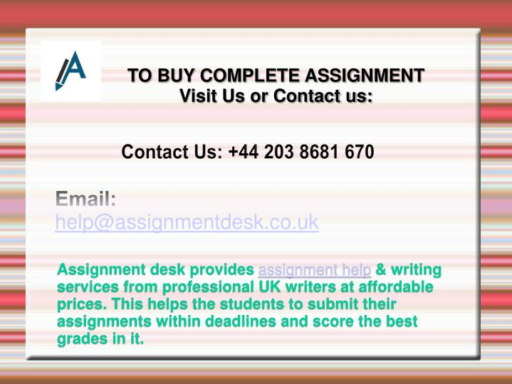 TO BUY COMPLETE ASSIGNMENT