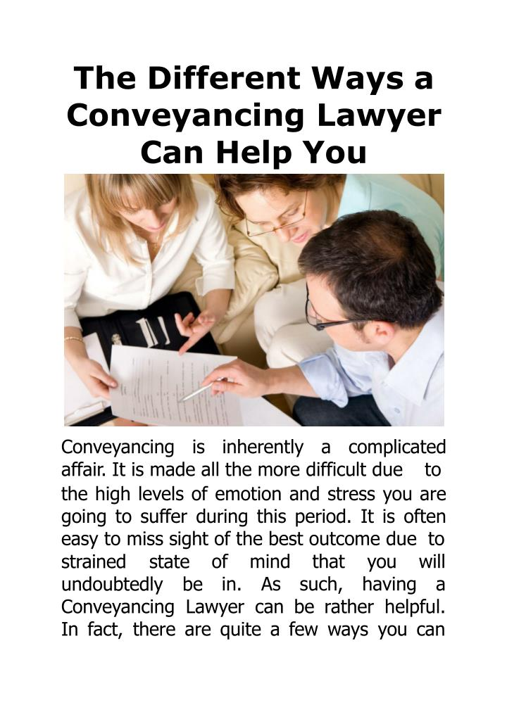 the different ways a conveyanci n g law y er can help you n.