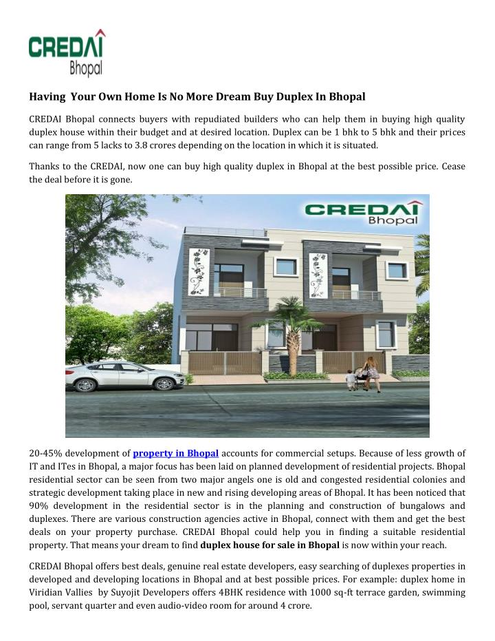 Having  Your Own Home Is No More Dream Buy Duplex In Bhopal