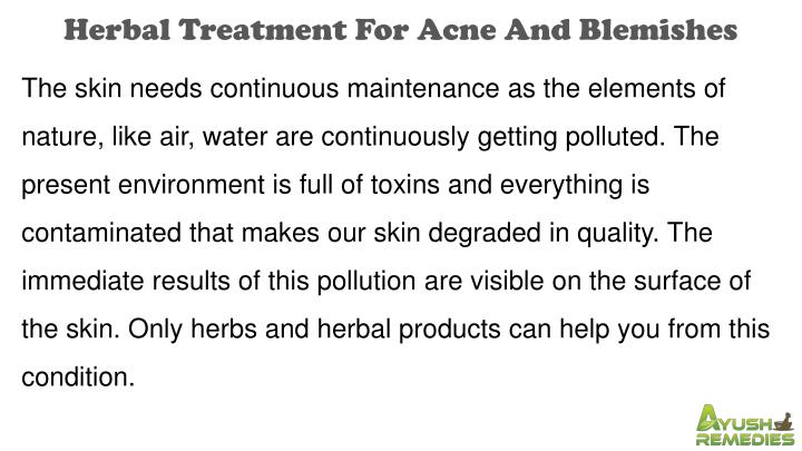 Herbal Treatment For Acne And Blemishes