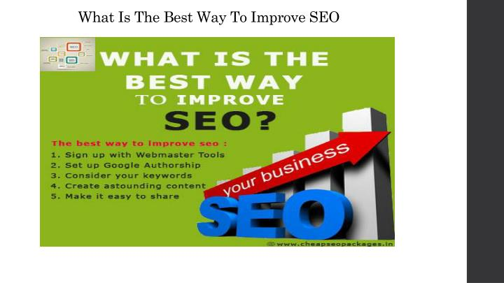 What Is The Best Way To Improve SEO
