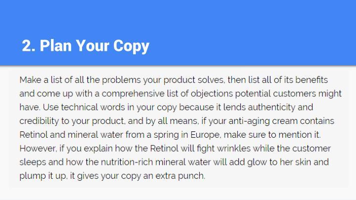 2. Plan Your Copy