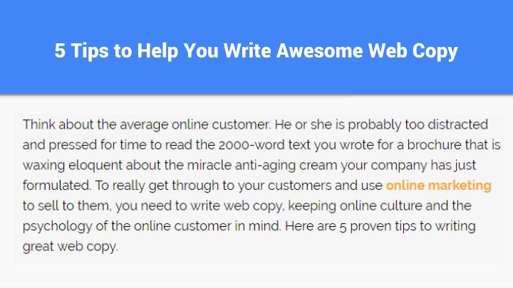 5 tips to help you write awesome web copy1