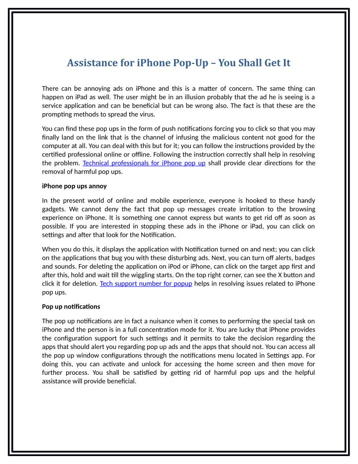 Assistance for iPhone Pop-Up – You Shall Get It