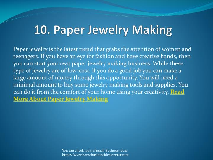 10. Paper Jewelry Making