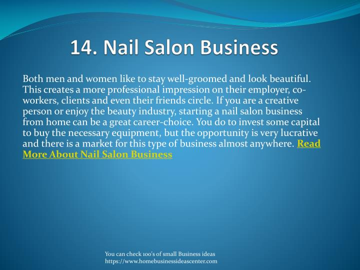 14. Nail Salon Business