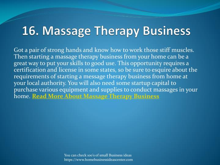 16. Massage Therapy Business