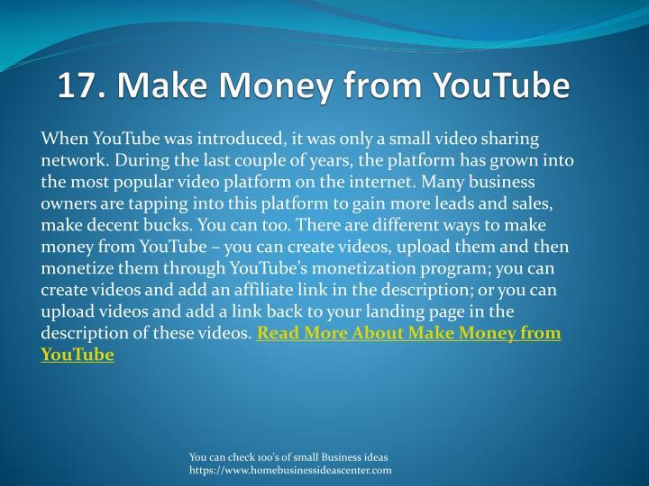 17. Make Money from YouTube