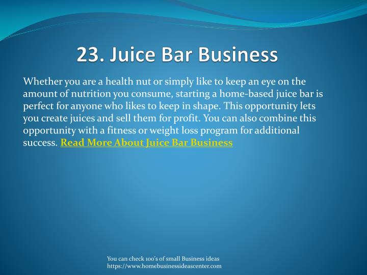 23. Juice Bar Business