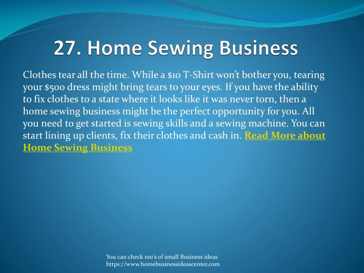 27. Home Sewing Business