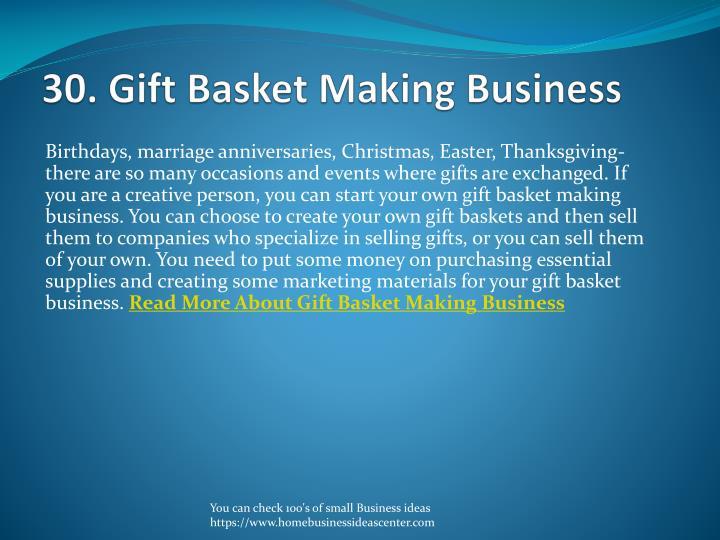 30. Gift Basket Making Business