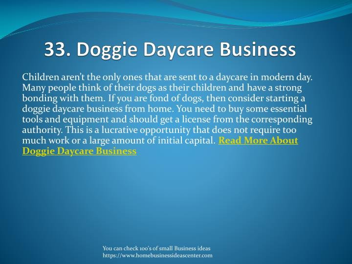 33. Doggie Daycare Business