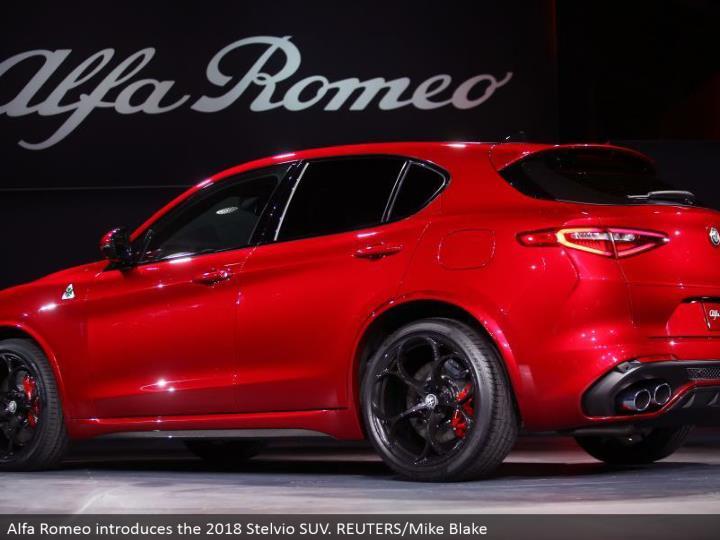 Alfa Romeo presents the 2018 Stelvio SUV. REUTERS/Mike Blake