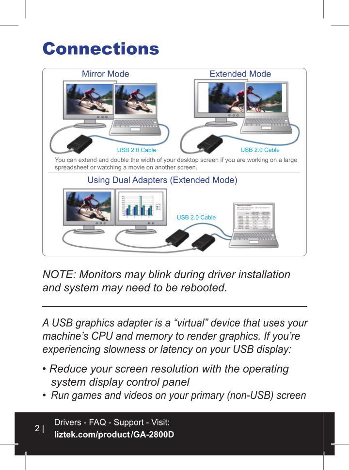 Liztek ga 2800d usb 2 0 to vga dvi hdmi video graphics adapter card for multiple monitors
