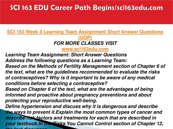 SCI 163 EDU Career Path Begins/sci163edu.com