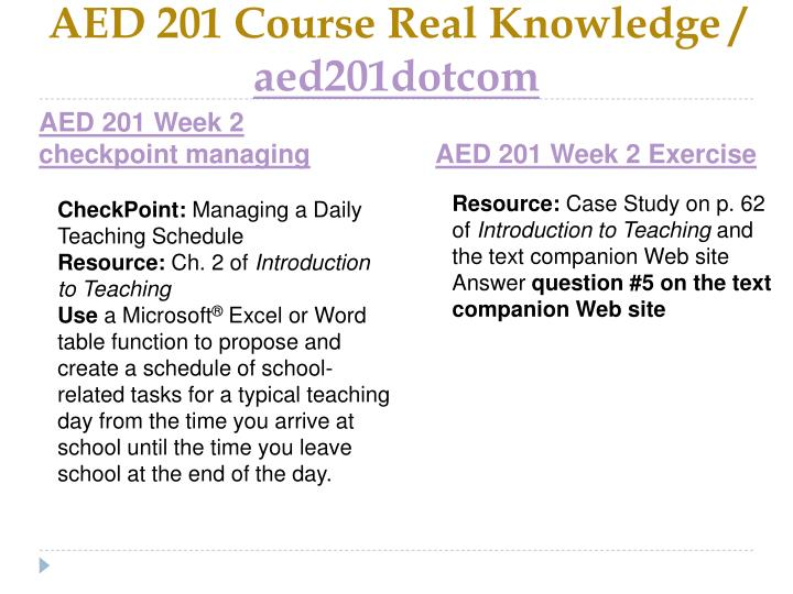aed 201 week 2 exercise case