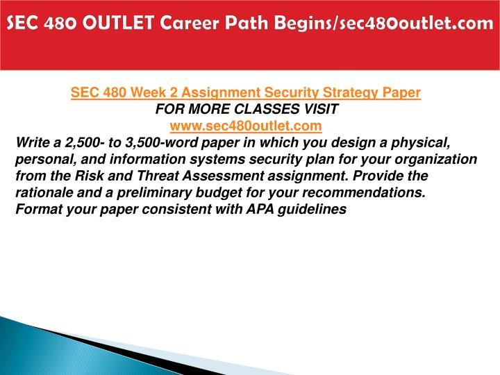 SEC 480 OUTLET Career Path Begins/sec480outlet.com