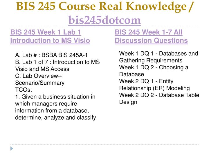 Bis 245 course real knowledge bis245dotcom2