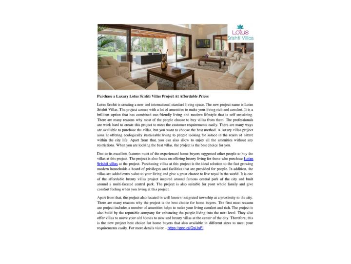 Purchase a luxury lotus srishti villas project at affordable prices