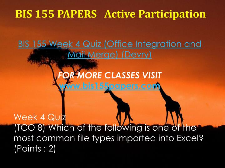 BIS 155 PAPERS
