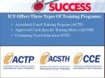 icf offers three types of training programs