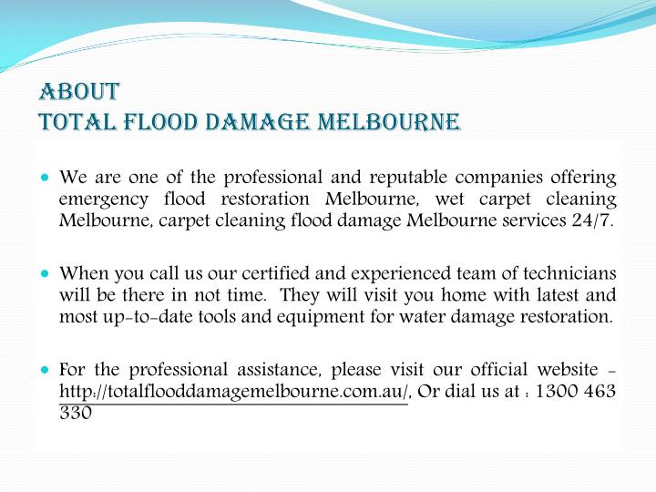 About total flood damage melbourne