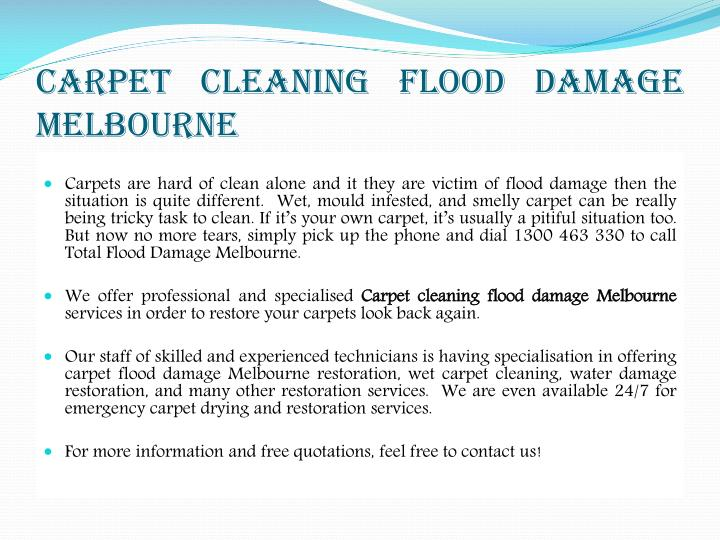 Carpet Cleaning Flood Damage Melbourne
