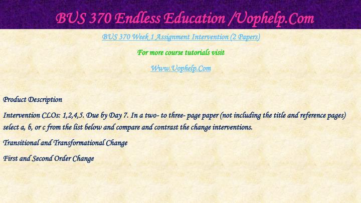 Bus 370 endless education uophelp com2