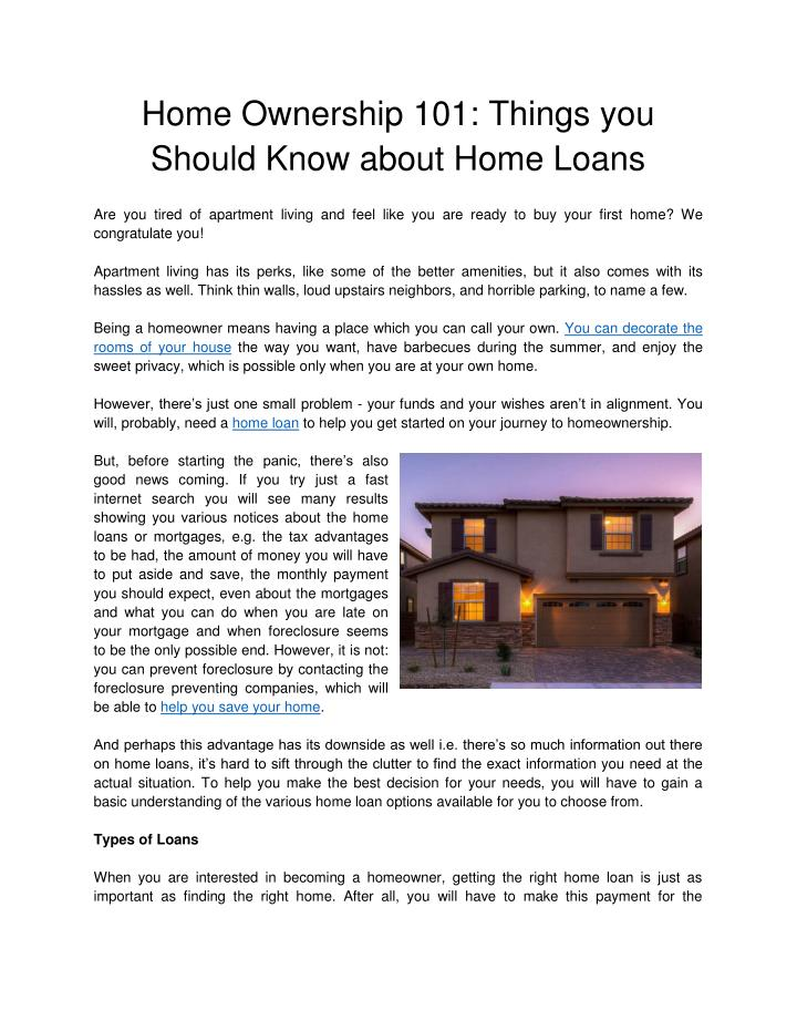 Home Ownership 101: Things you