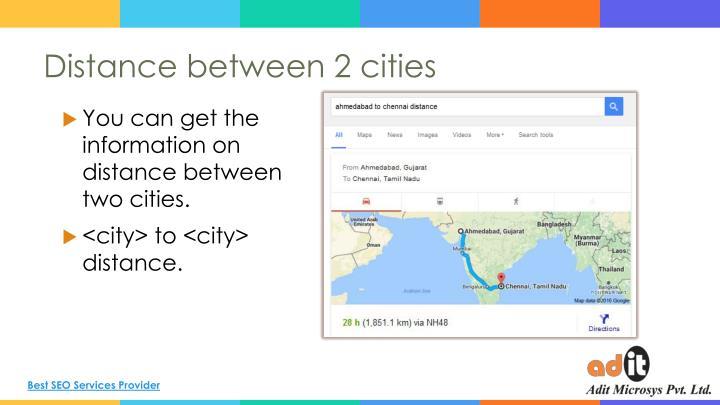 Distance between 2 cities