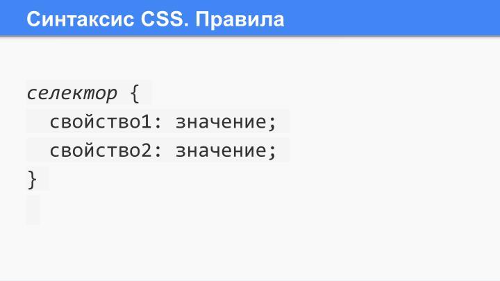 Синтаксис СSS. Правила