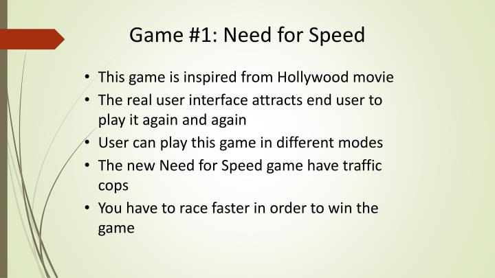 Game 1 need for speed