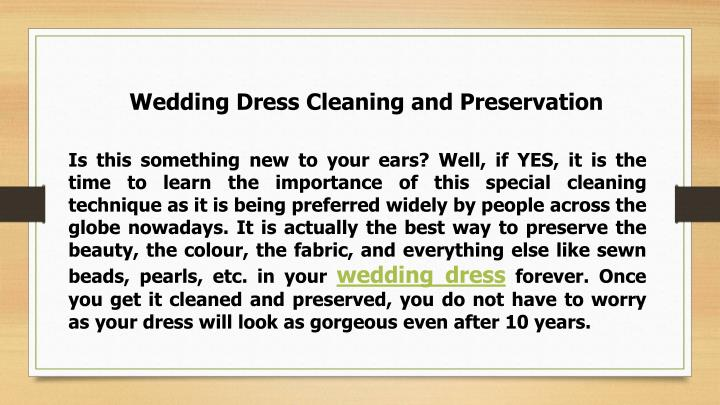 Wedding Dress Cleaning and Preservation