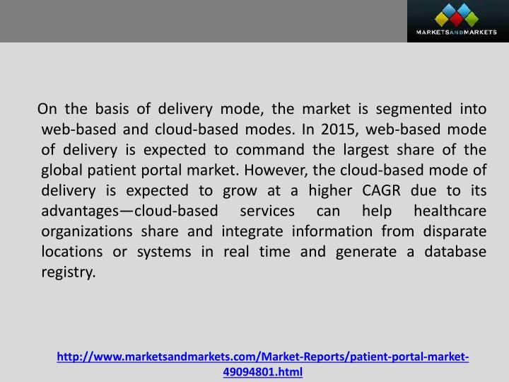 On the basis of delivery mode, the market is segmented into web-based and cloud-based modes. In 2015, web-based mode of delivery is expected to command the largest share of the global patient portal market. However, the cloud-based mode of delivery is expected to grow at a higher CAGR due to its advantages—cloud-based services can help healthcare organizations share and integrate information from disparate locations or systems in real time and generate a database registry.