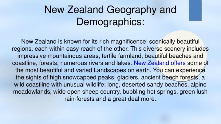 New Zealand Geography and Demographics: