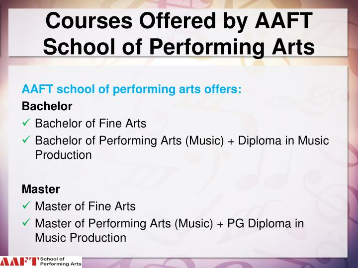 Courses Offered by AAFT School of Performing Arts
