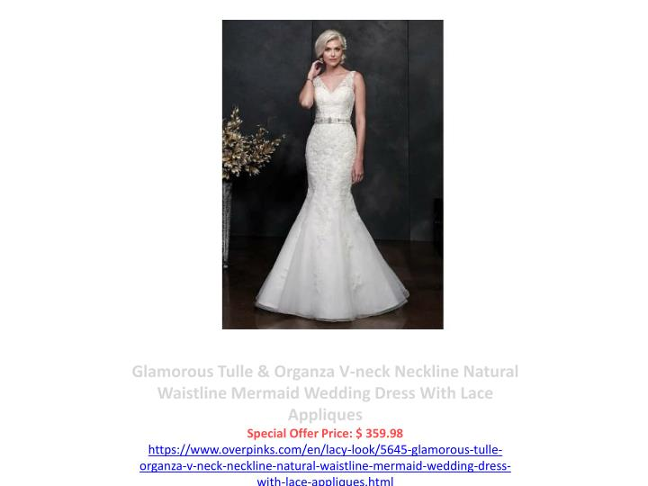 Glamorous Tulle & Organza V-neck Neckline Natural Waistline Mermaid Wedding Dress With Lace Appliques