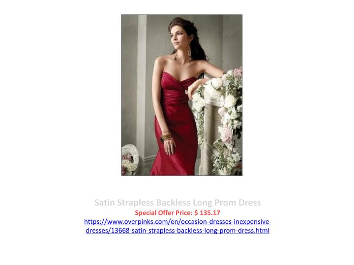 Satin Strapless Backless Long Prom Dress