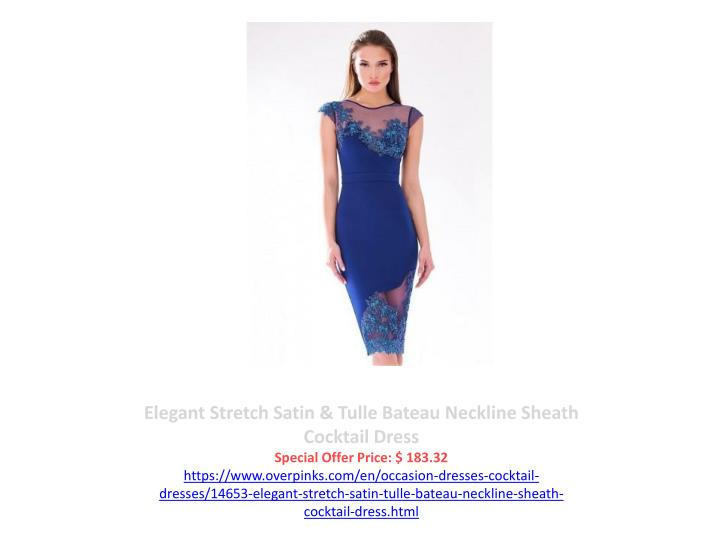 Elegant Stretch Satin & Tulle Bateau Neckline Sheath Cocktail Dress